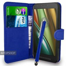 Blue Wallet Case PU Leather Book Cover For Motorola Moto E3 (2016) Mobile