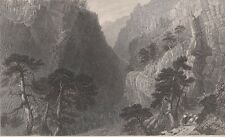 1836 Two Bartlett Engravings - ALPINE SCENES - Bad Pfafers Baths - The Guil Pass
