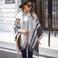 Women's Black  Wool Poncho Cape Scarves Wrap Hooded with Hat Big Shawl Cloak