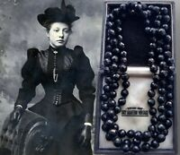 ANTIQUE VICTORIAN VULCANITE JET BLACK BEADS MOURNING NECKLACE MUFF GUARD CHAIN