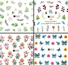 Nail Art Stickers Water Decals Transfers Butterfly Flowers Botanical Flamingos