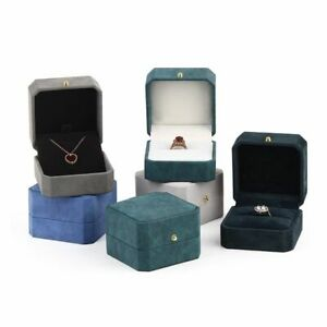 Luxury PU Leather Ring Pendant Packaging Box Wedding Snap Jewelry Display-Stand
