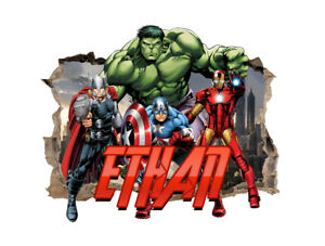 Personalised Avengers Any Name Wall Decal 3D Art Stickers Vinyl Bedroom 10
