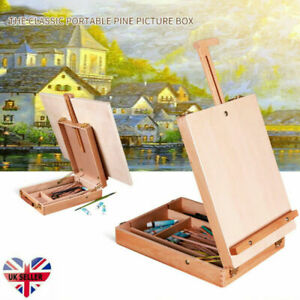 Portable Wooden Painting Drawing Set Desk Table Artist Table Top Easel Box Board