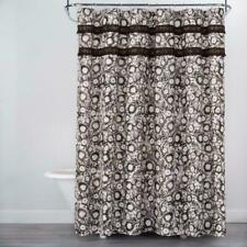 Opalhouse Shower Curtain Fringe Trim White Brown Black Floral Print 72 x 72