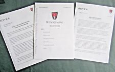 ROVER STREETWISE - RARE UK 2003 PRESS RELEASES x 3 ( PACK KIT INFORMATION) 25 ZR