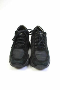 Hogan Womens Suede fabric Lace Up Sneakers shoes Black Size 7.5 $300