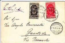 REGNO-DECENNALE FIUME 10c+20c-Cartolina Fiume->Guastalla 19.3.1934