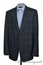 DUNHILL Recent Blue Plaid Check 100% Wool Mens Blazer Sport Coat Jacket - 40 R