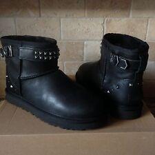 UGG Neva Deco Studs Swarovski Bling Black Leather Sheepskin Boots Size 9 Womens