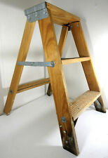 "Vintage Davidson Small Wooden Step Ladder Stool Plant Stand 2 Steps 22"" Rustic"