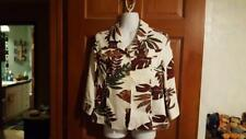 WOMAN TANJAY PETITES STRETCH LEAF PRINT LITE JACKET, SZ 6P, 3/4 SLEEVES, COTTON