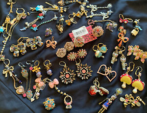 Huge Estate Lot of Vintage Betsey Johnson Earrings Fish Cat Butterfly Jewelry