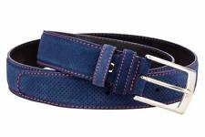 Blue Suede Leather Belt Red Mens belts 100% Italian leather Perforated Sz 40