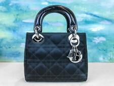 $3500 CHRISTIAN DIOR Mini Lady Dior Black Quilted Cannage Satin Tote Bag SALE!