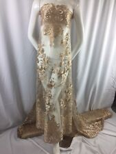 Gold  Flowers Embroider On A 2 Way Stretch Mesh Lace. Wedding/Bridal Fabric