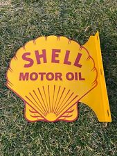 "VINTAGE SHELL GASOLINE 18"" PORCELAIN METAL GASOLINE & OIL DOUBLE SIDED FLANGED!!"