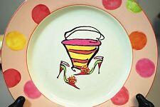 """Rosanna Pink High Heels Shoes & Purse - 8.5"""" Dessert Plate Peach Pink Polka Dot"""