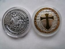medaille Chevalier Templier - plaqué argent - couleurs jaune