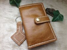 Handmade Leather Brown Card Holder Wallet + Matching Key Chain. Made In England.