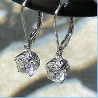 2.00 Ct Round Cut White Diamond Drop Dangle Earring 14K White Gold Finish