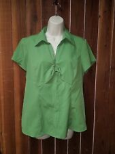 Women's Size 12 Green Fitted Stretch V-Neck Buckle Front Top by Style & Co.