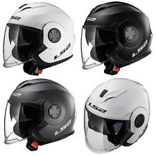 LS2 OF570 VERSO SOLID Casque Moto Casque Jet Double Visière Solid Blanc
