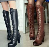 New Ladies Leather Lace Up Zip Block Heel Knee High Riding Boots Shoes Plus Size