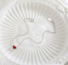 Women's 925 Sterling Silver Tiny Red Love Heart Charm Chain Cuff Bracelet