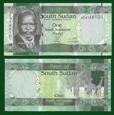 South Sudan P5, 1 Pound, Dr. John Garang de Mabior / giraffe herd UNC see UV, WM