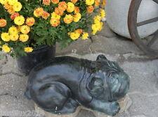 Statue chien, Bulldog français en pierre reconstituée,  patine grise