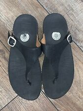 Women's 7 FitFlop The Skinny Toe Post Black Leather Thong Flip Flops Sandals