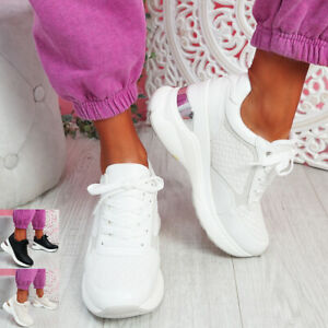 WOMENS WEDGE TRAINERS LADIES LACE UP SPORT SNEAKERS PLATFORM WOMEN SHOES SIZE