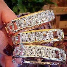 Bracciale con nome argento sterling 925 zirconi brillanti rigido manetta donna