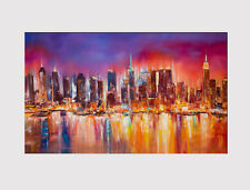 """416 CANVAS X LARGE 18"""" X 32"""" PICTURE ABSTRACT PRINT CITY SKYLINE NEW YORK"""