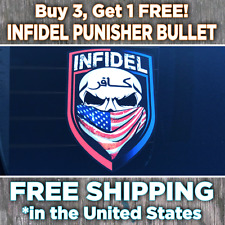 Infidel Bumper Sticker • Red/Blue Skull Bandana decal • 2nd Amendment NRA • Army