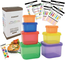 FIXBODY Portion Control Containers, Color-Coded Labeled, 7 Pieces, 21 Day Lose W