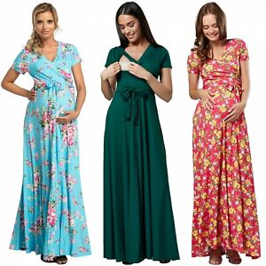 Happy Mama Women's Maternity Nursing 2in1 Maxi Dress Short Sleeves. 599p