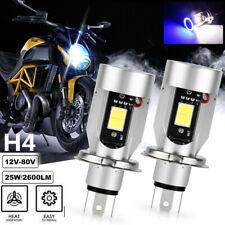 2X H4 9003 HB2 LED Motorcycle Headlight Bulbs Hi/Lo White Blue Angel Eyes 12-80V