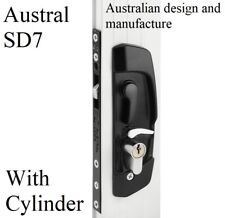 Sliding security screen door lock AUSTRAL SD7 * WITH keyed Cylinder * Black *