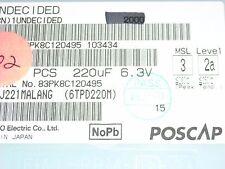 Sanyo Poscap  220uF 6.3V SMD case D4 Tantalum Polymer Capacitor ROHS  50 PCS