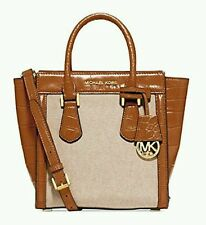 NWT Michael Kors Colette Messenger Satchel Crossbody Walnut Brown Ecru WRAPPED