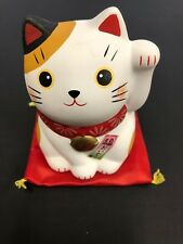 Yakushigama Pottery Maneki Neko Lucky Cat Good Luck 55mm Blue AM-Y7120 JAPAN