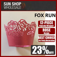 100% Genuine! Fox Run 12 Piece Cupcake Wrappers Rose Design Red! Rrp $12.99!