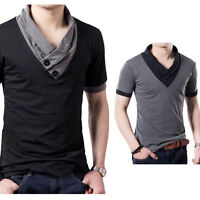 New Fashion Mens Shirts Short Sleeve T Shirts Casual Blouse Tops Cotton Tee Tops