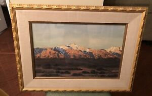 Early California Artist Joseph Emil Morhardt Sierra Nevadas Watercolor Painting