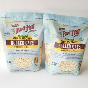 2 Bobs Red Mill Organic Old Fashioned Rolled Oats 32oz Each Whole Grain Exp 2022