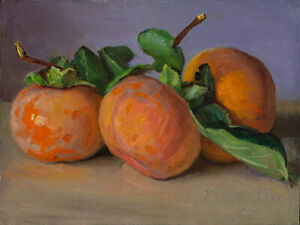 Original daily painting a day still life realism persimmons fruit 8x6 in, Y Wang