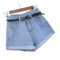 Womens Vintage High Waist Crimping Denim Shorts Slim Casual Short Jeans WA