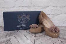 PEDRO MIRALLES Beige Taupe Bow Ballerina Low Block Heel Pumps RRP £99 EU 37 UK 4
